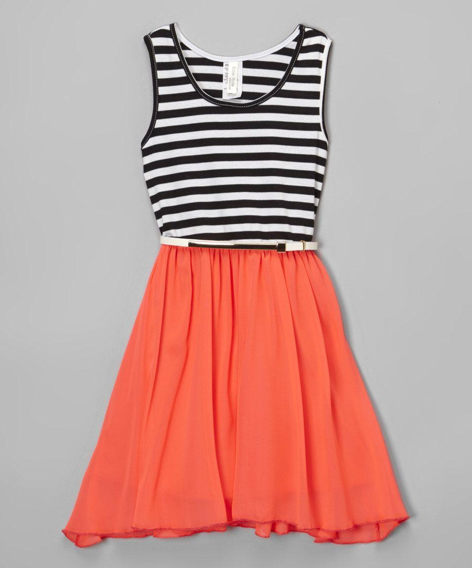 Loving this orange u black stripe dress girls on zulily