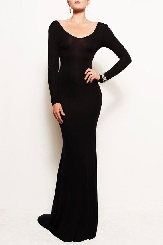 454ecf72c698 VIVIEN - Black Open Back Backless Jersey Mermaid Fitted Bodycon Long Sleeve  Gown Train Michael Kors