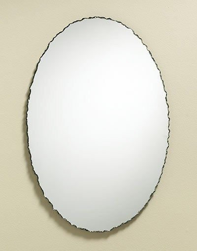 Chiseled Edge Oval Frameless Mirror From Rustic To - Contemporary oval mirrors