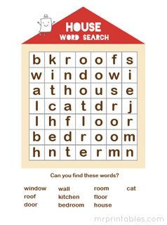 printable word search puzzle house | Word Search Puzzles ...