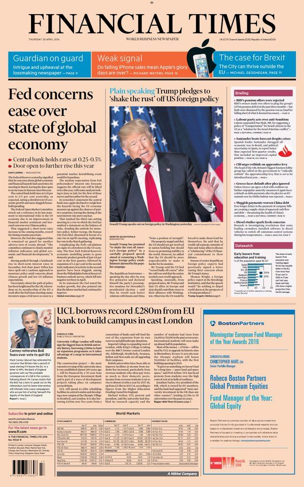 Financial Times | Front pages: Thursday 28th April 2016 | Newspaper