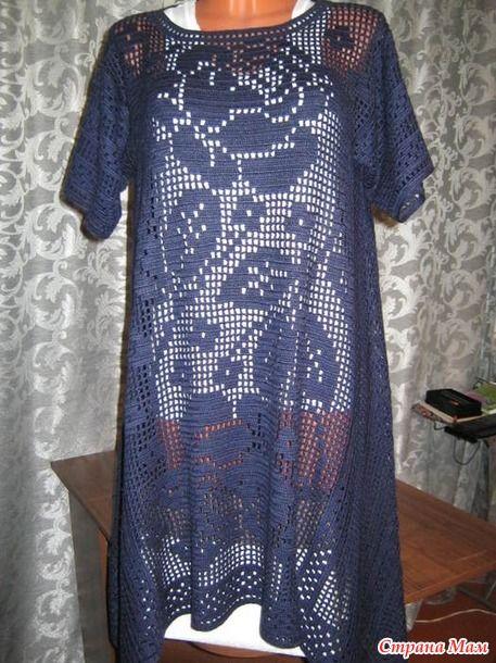 e67ccb6b5896 Филейное вязание - Туники Бохо   Croche Filet   Crochet, Filet ...