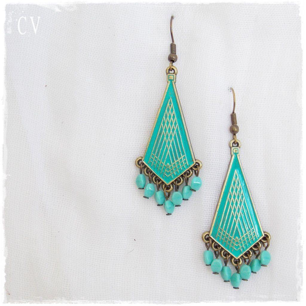 Geometric Earrings, Gypsy Turquoise Earrings, Dangle Brass Earrings ...