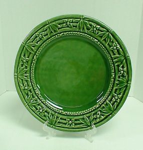Bordallo Pinheiro Green Bamboo Chop Charger Plate Made in Portugal 13 1/4\  & Bordallo Pinheiro Green Bamboo Chop Charger Plate Made in Portugal ...
