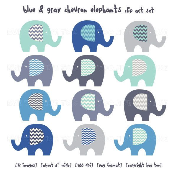 Elephants Clipart - Digital Vector Safari, African, Animal ...