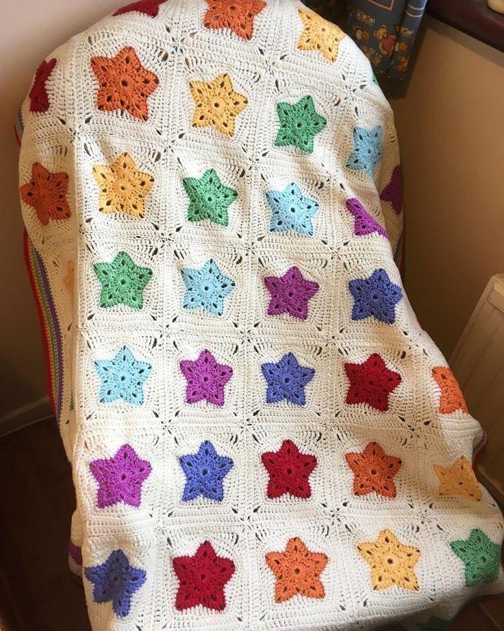Regenbogen der Stern-Decke. Ich habe die Decke auf den Fotos mit Stylecraft Spec gemacht ...  #slipstitch