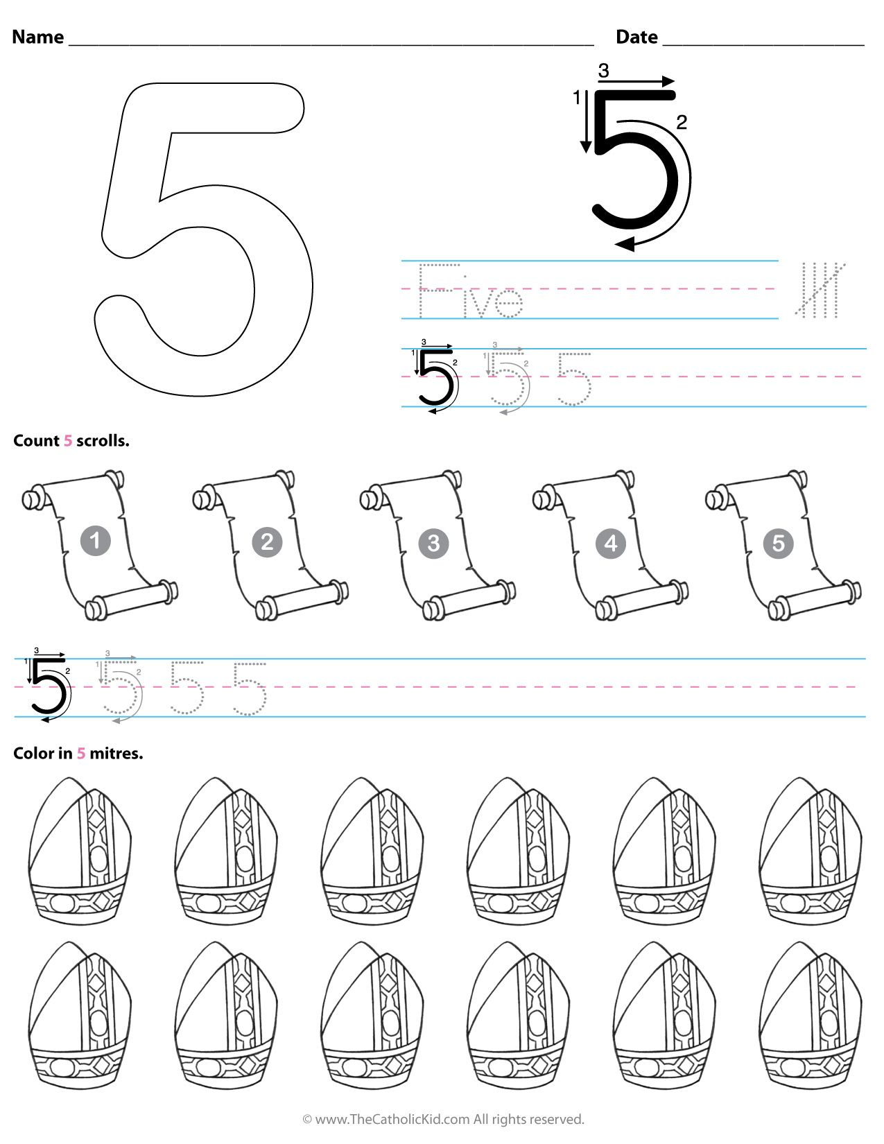 10 Catholic Preschool \u0026 Kindergarten Number Worksheets ideas   preschool  kindergarten [ 1650 x 1275 Pixel ]