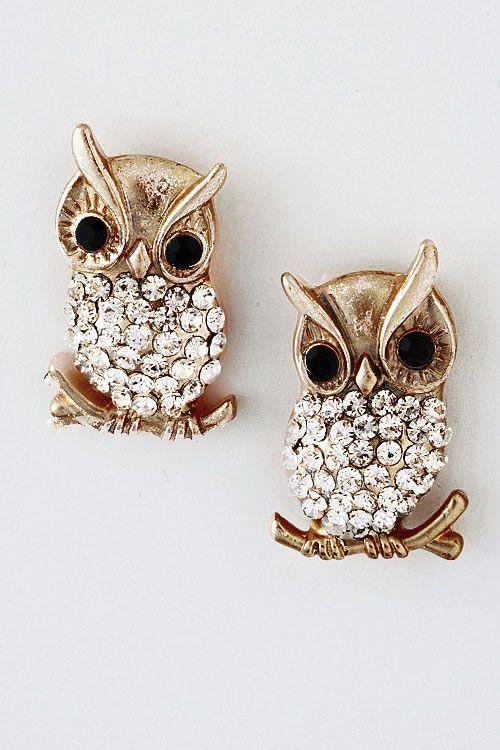 Antiqued Crystal Owl Earrings