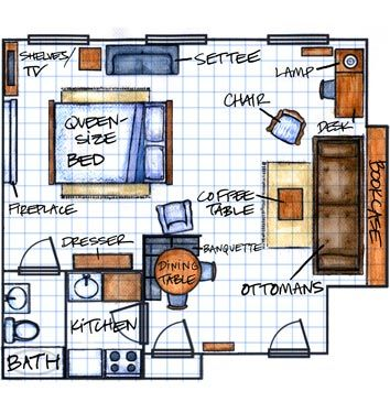 Michael Bargo S Studio Apartment Floorplan Another Great Example Of Efficient Use Of Space