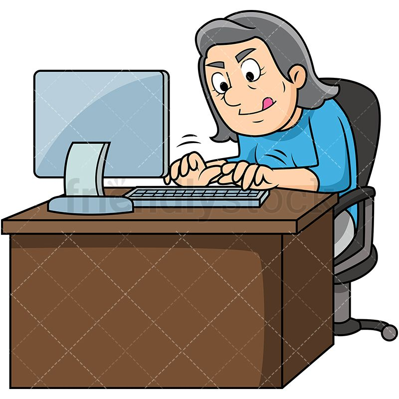 Old Woman Typing Fast On Computer | Mature People Clipart ...