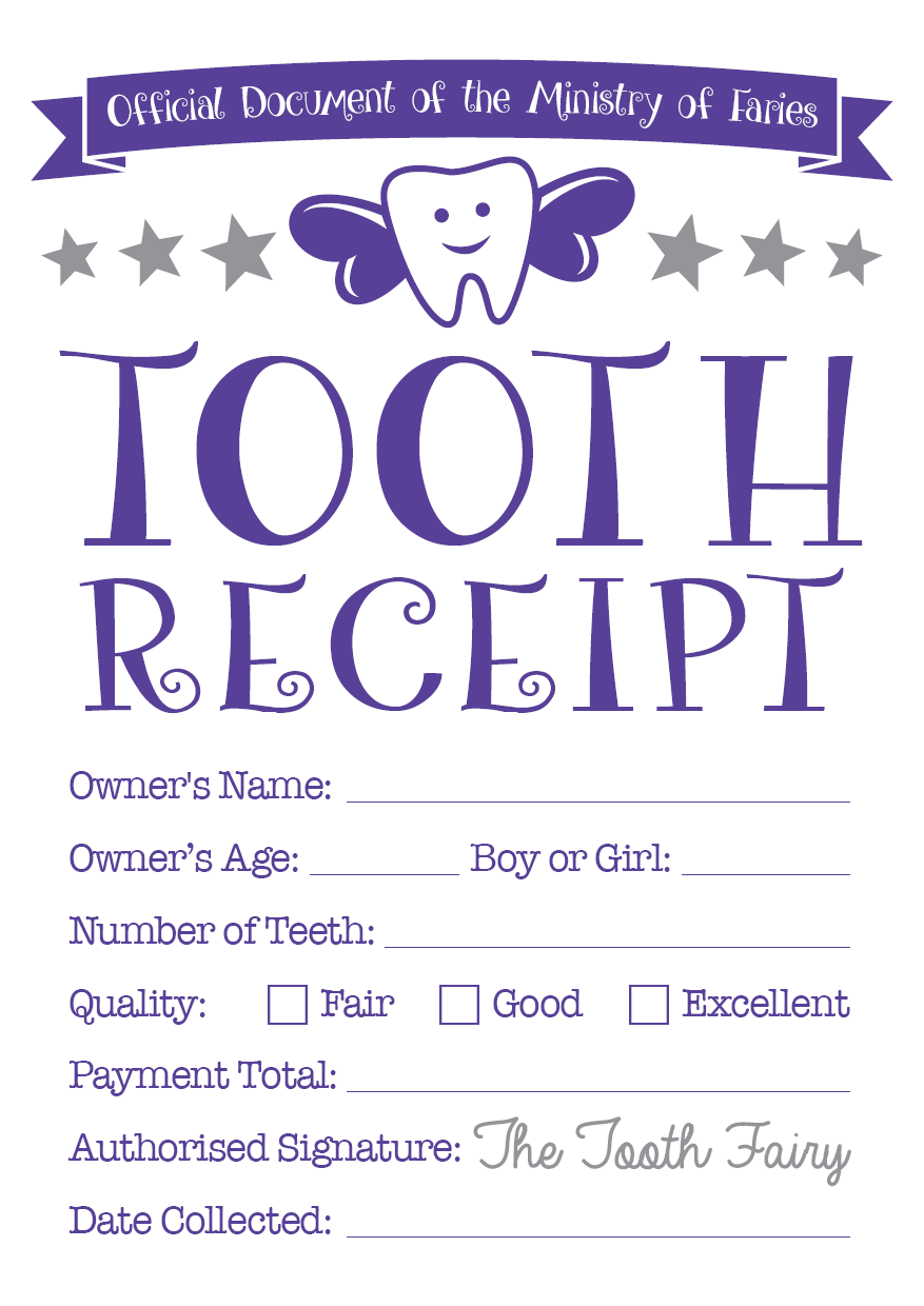 Zany image regarding printable tooth fairy receipt