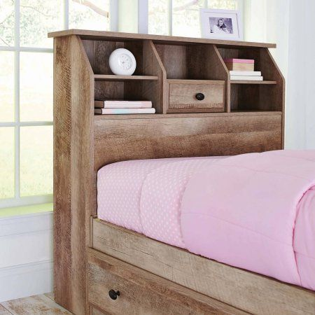 Weathered Finish Cubbyhole Storage Crossmill Twin Bookcase Headboard Features A Rustic Appearan Bookcase Headboard Headboard Better Homes And Gardens