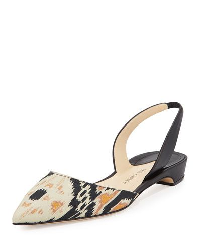 PAUL ANDREW Rhea Ikat D'Orsay Slingback Flat, Black/Sepia. #paulandrew #shoes #flats