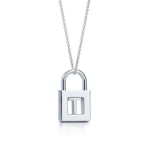 Tiffany Letter T  Lock Charm Necklace