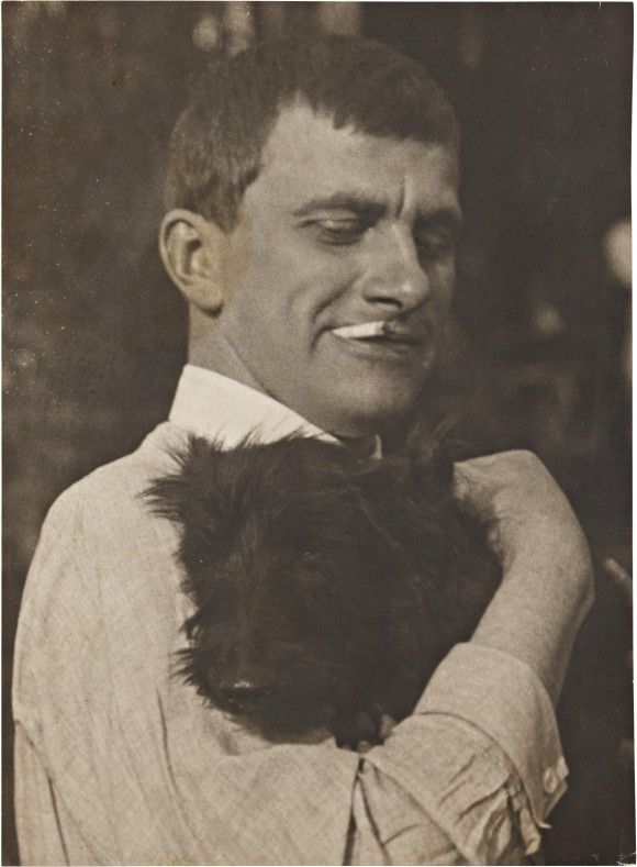'Mayakovsky with Scottie', 1924 - photo by Alexander Rodchenko in high resolution