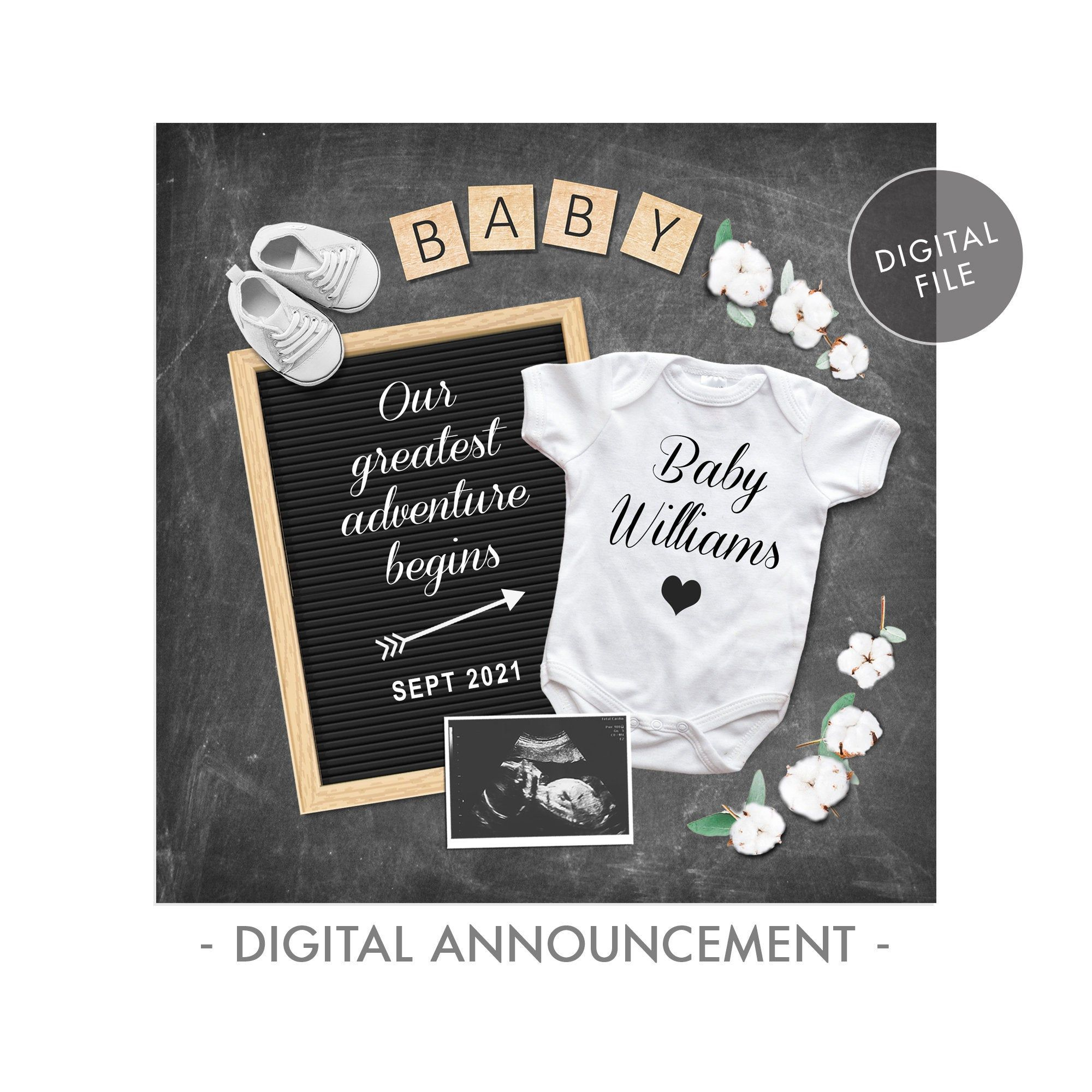 Oh Baby Gender Neutral Baby Reveal Social Media Pregnancy Announcement Personalized Digital Pregnant Announcement Facebook Instagram.
