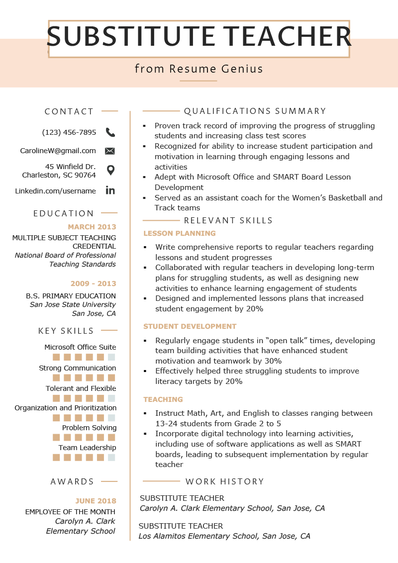 Substitute Teacher Resume Samples Writing Guide Resume Genius