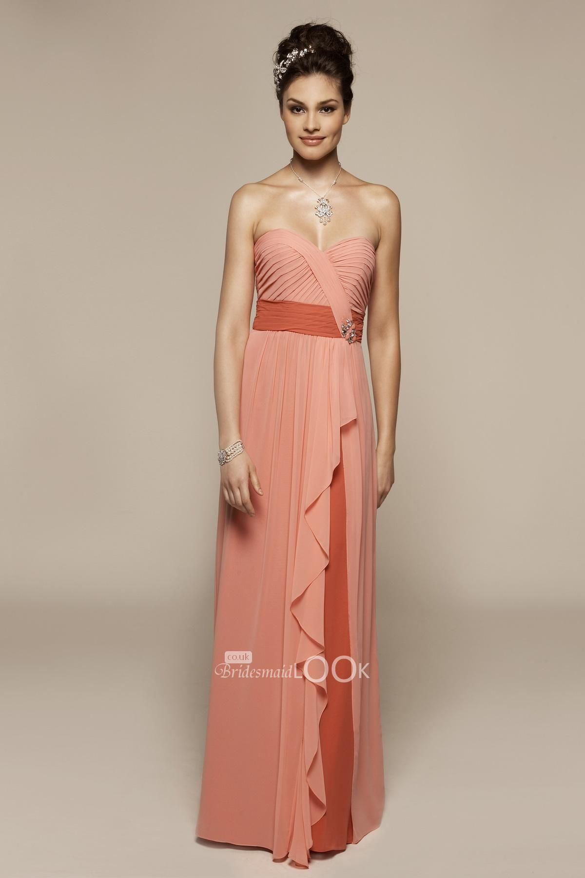 Buy cheap strapless floor length chiffon coral bridesmaid dress - Peach Full Length Bridesmaid Dress With Cascading Skirt Overlay With Shirred Bodice Chiffon Bridesmaid Dresseslace Wedding Dresscheap
