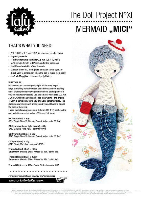 HÄKELANLEITUNG Puppe MICI die Meerjungfrau PDF von lalylala auf Etsy
