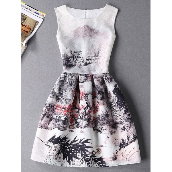 20.15$  Buy now - http://di8j2.justgood.pw/go.php?t=185667804 - Stylish Oil Painting Print Sleeveless Round Neck Women's Dress 20.15$