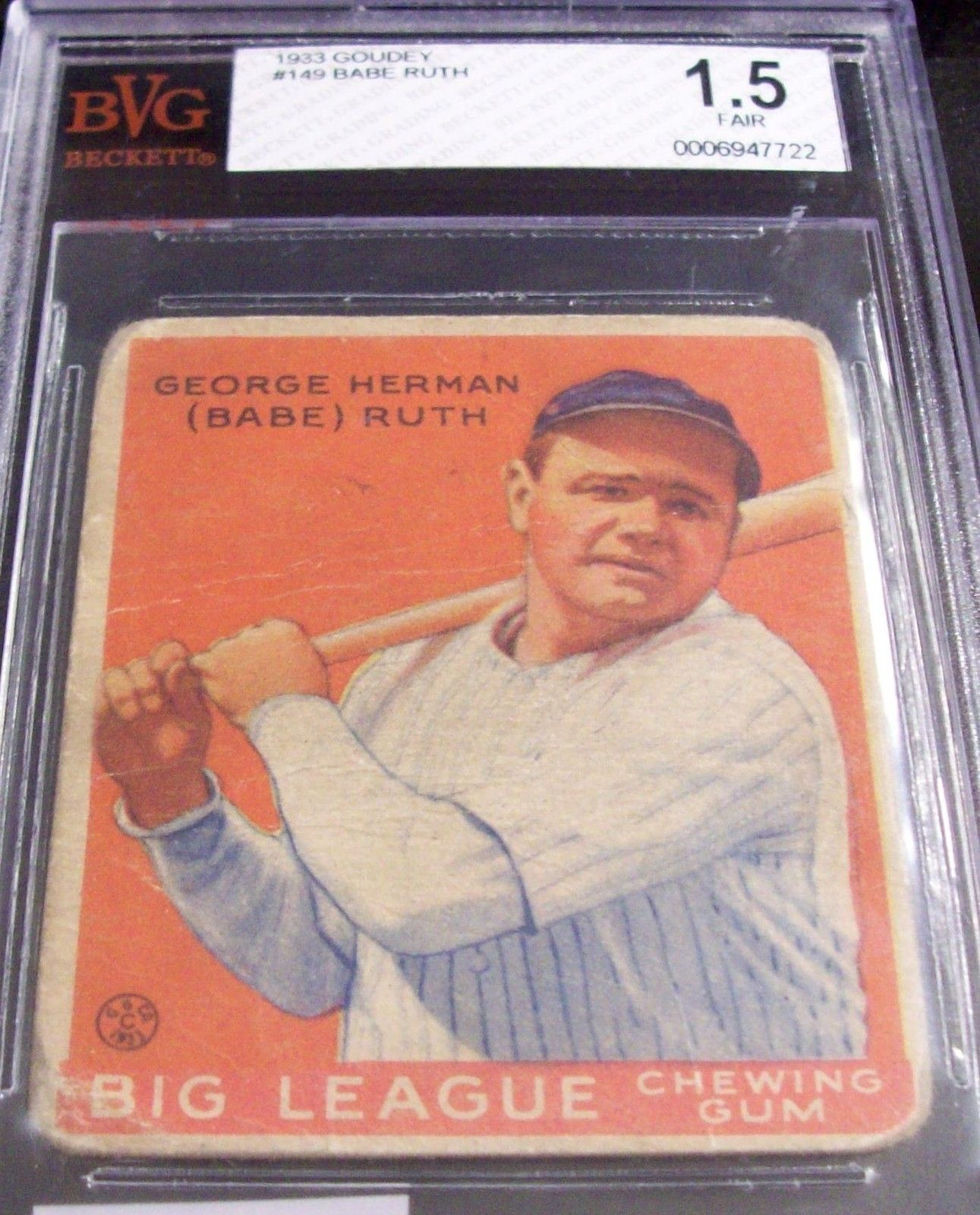 Babe ruth 1933 goudey baseball card 149 beckett bvg grade