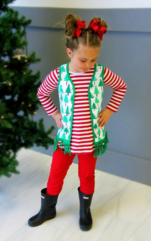 Christmas Tree Fringe Vest 3pc Outfit #boutique-outfits #new #perfect-sets