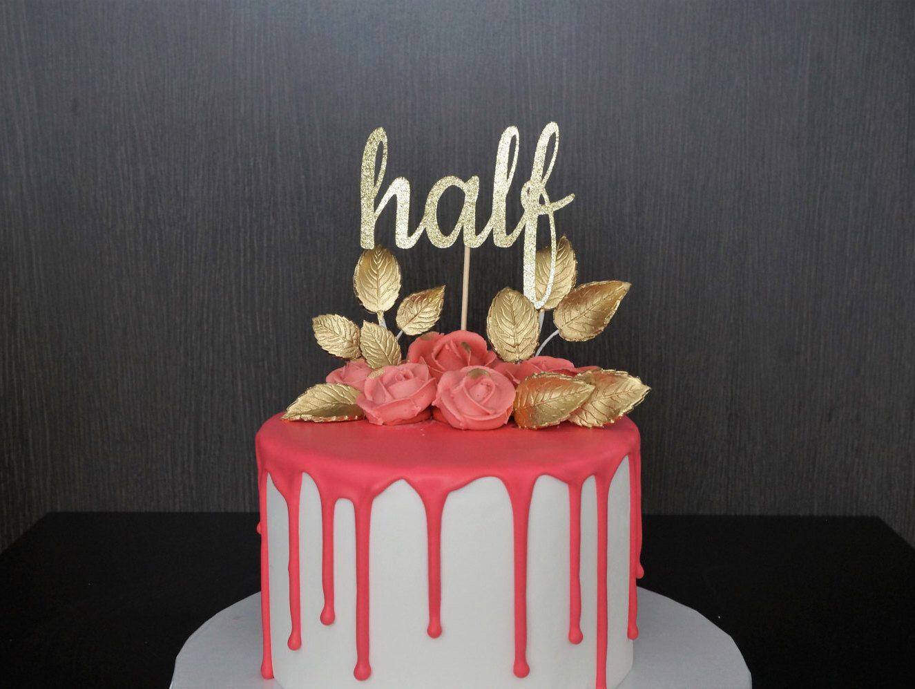 1 2 Cake Topper Half Cake Topper 6 Months Birthday Cake Topper