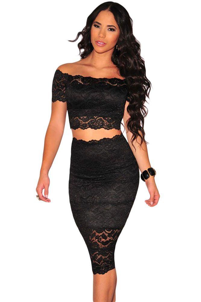 black lace off shoulder crop top and skirt set skirt set black laces and shoulder. Black Bedroom Furniture Sets. Home Design Ideas