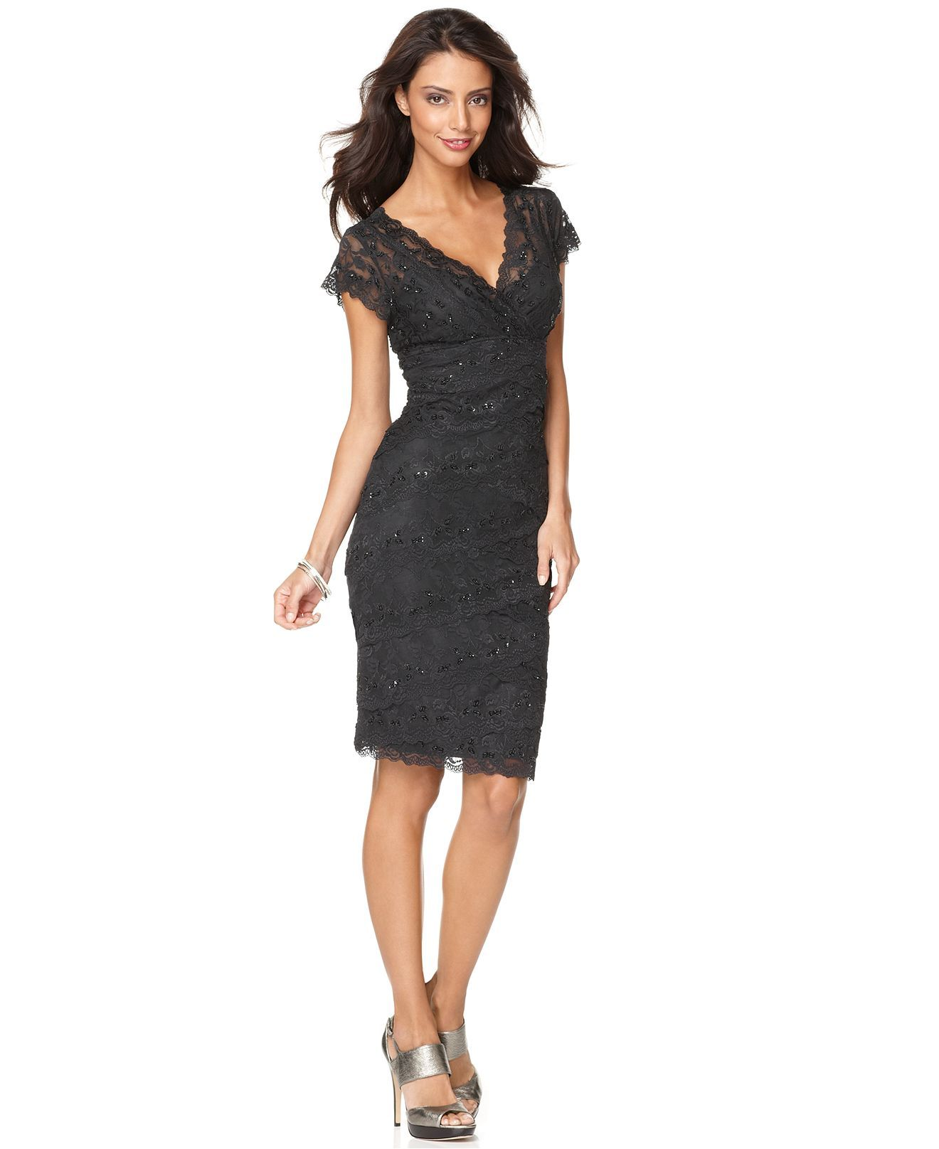 Marina dress cap sleeve lace cocktail dress womens for Cocktail dress with sleeves for wedding