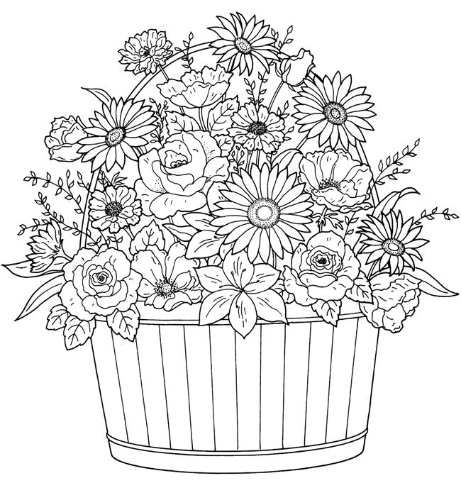 Flowers In A Basket Flower Coloring Pages Coloring Books Colouring Sheets For Adults