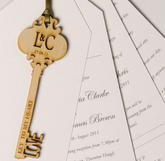 Laser cut key invitation by paperbird design wedding invitations laser cut key invitation by paperbird design stopboris Choice Image