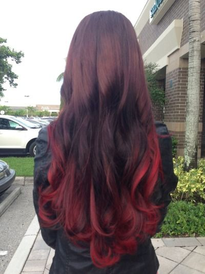Red Ombre On Tumblr Ombre Hair Beauty Hair Color Dip Dye Hair