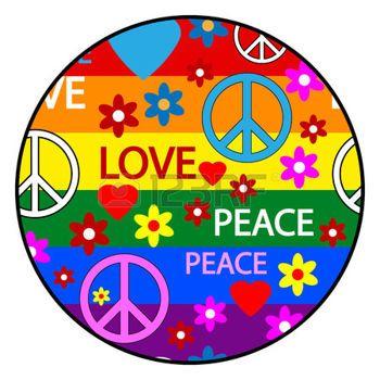 Fleur Hippie Bouton Avec Symboles De La Hippie Vector Illustration