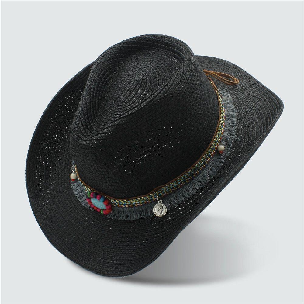 dd216899ba5030 Summer Women's Men's Hollow Western Cowboy Hat For Gentleman Western Word  Cowgirl Jazz Cap Straw Beach