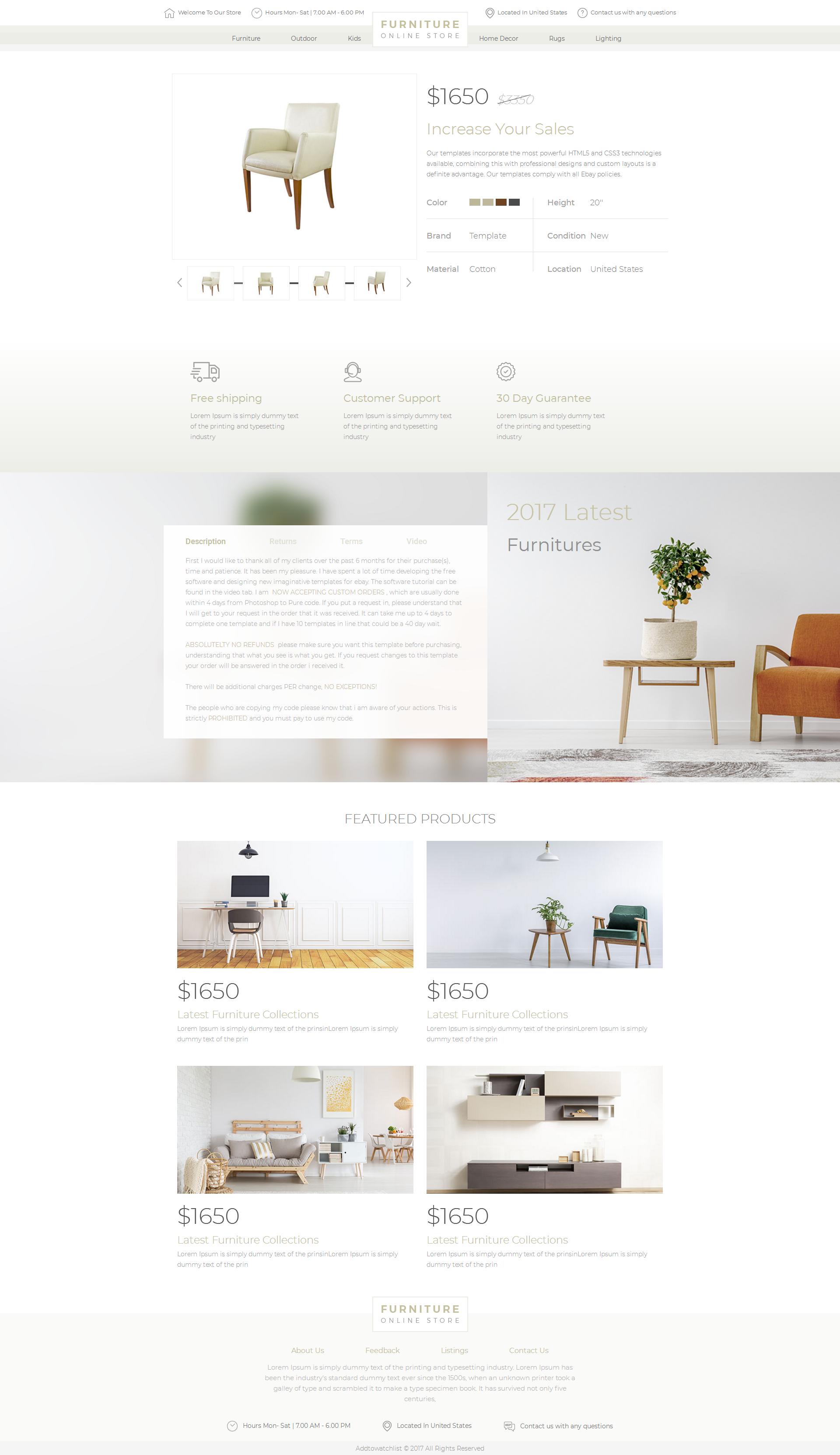 Details About 2019 Compliant Premium Responsive Ebay Auction Listing Template Furniture Design Web Design Webdesign Design