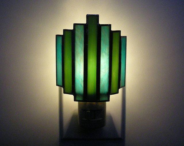 Brazan Design Art Deco Night Light In Turquoise And