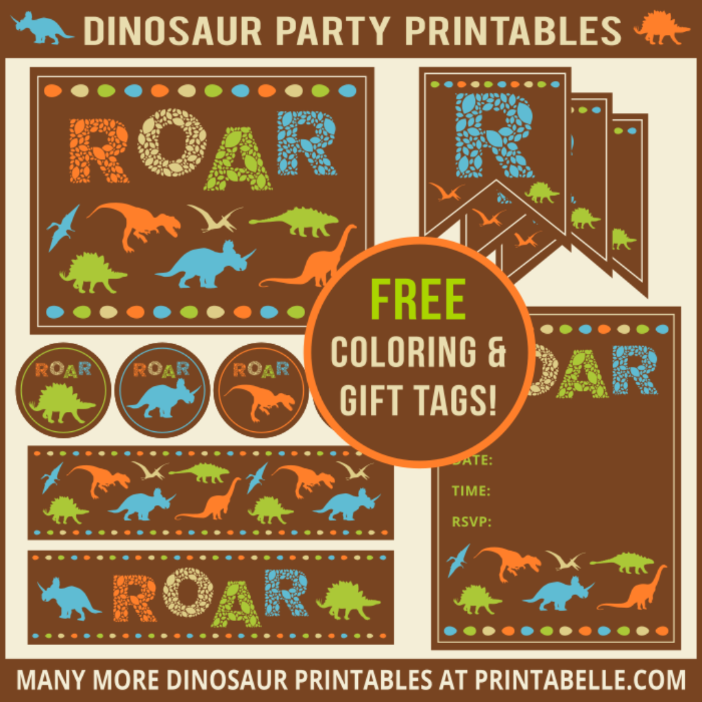 Dinosaur Party Printables and Invitations with free samples