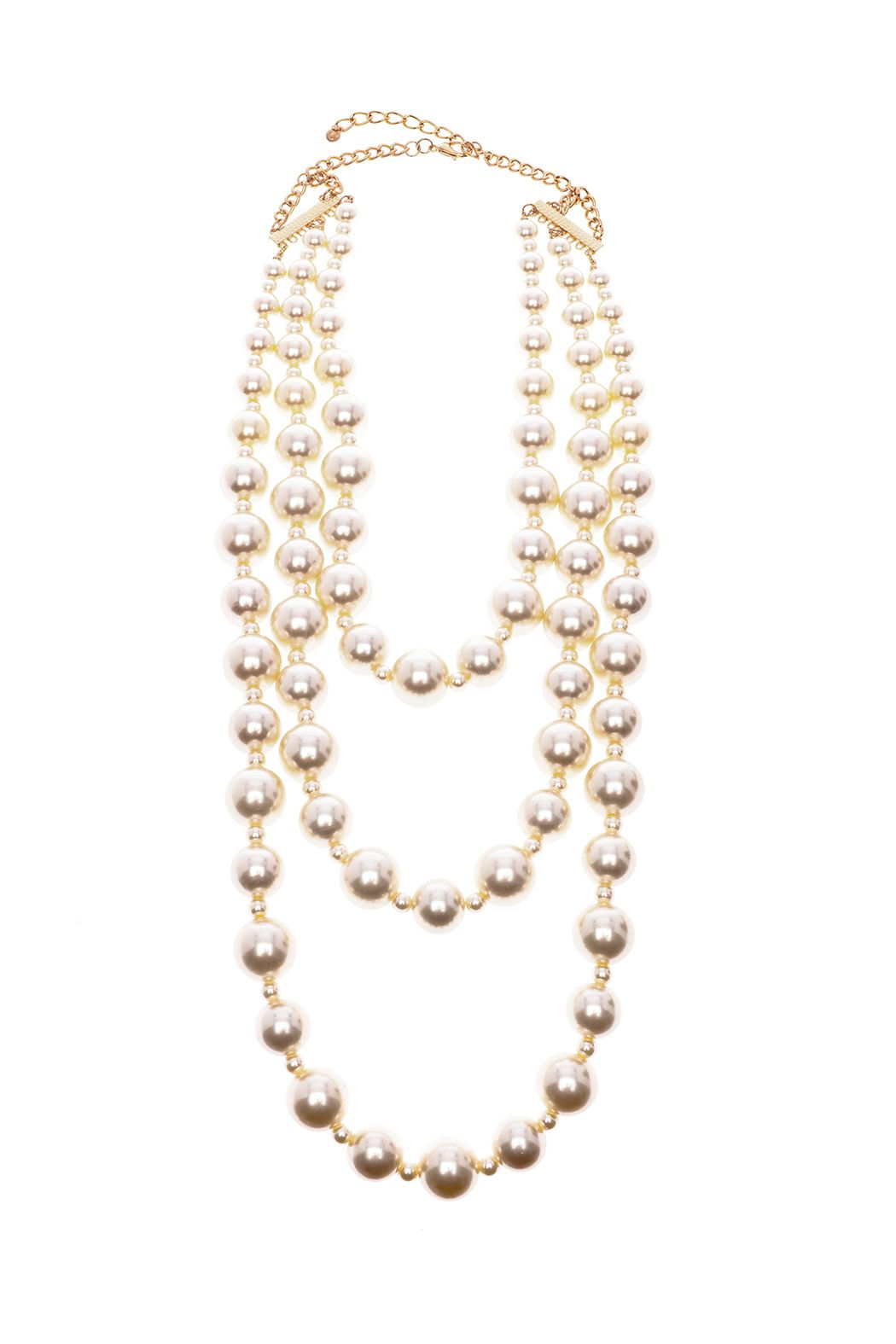 90223102181cc6 Three strand pearl necklace is just the statement piece for that fabulous  outfit or party. It is adjustable and in between white/white and creamy.  Mega ...