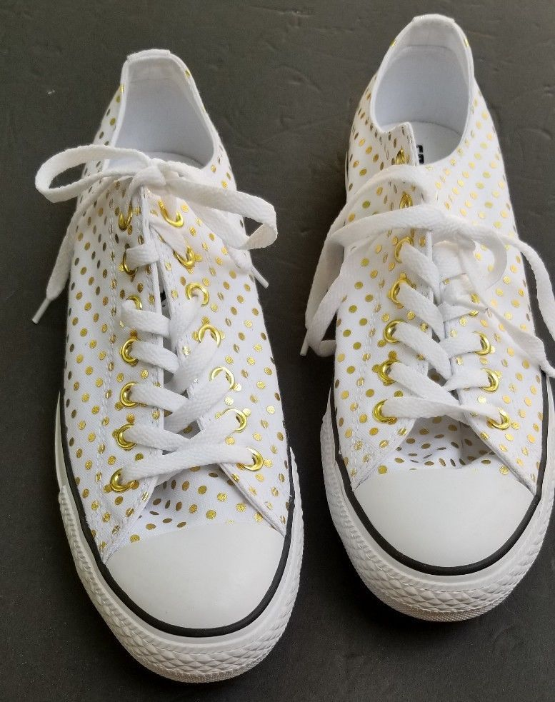 8309b19495b Converse Women s Size 12 Ox White   Gold Polka Dot Canvas Sneakers Shoes   Converse  Comfort