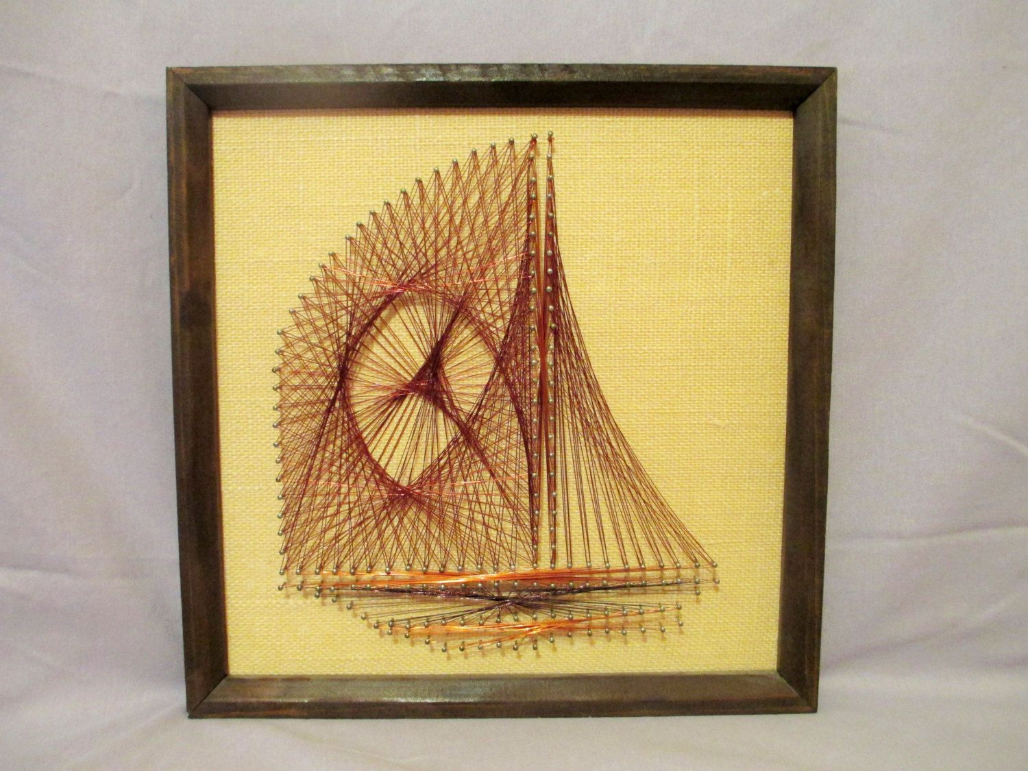 String Art Sailboat, Mid Century String Art, Copper Wire Sailboat ...