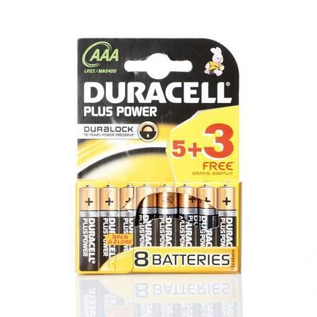 Duracell Plus Power Pack Of 5 Aaa Batteries With 3 Free Duracell Aaa Batteries Power Pack