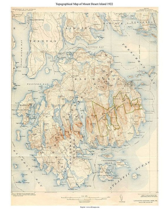 Topography Map Of Maine.Mount Desert Island 1922 Old Topographic Map Usgs Custom Maine Old