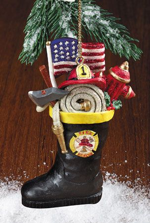 Firefighter Boot Ornament - Firefighter Boot Ornament Firefighter Christmas Ornaments