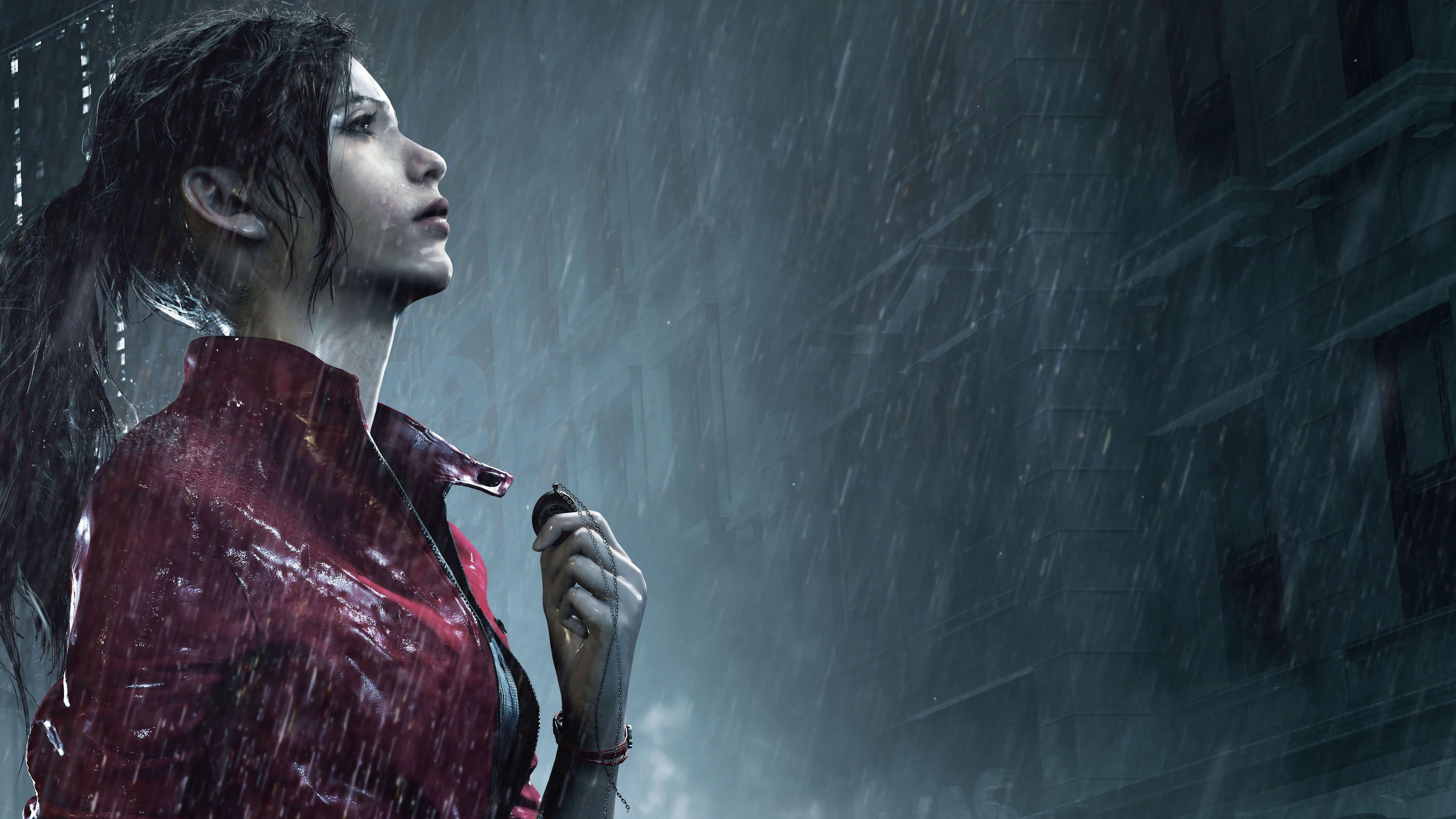 Resident Evil 2 Remake Resident Evil Video Games Dark Hair Video Game Heroes Rain 8k Wallpaper Hdwallpape Resident Evil 2 Remake Resident Evil 8k Wallpaper