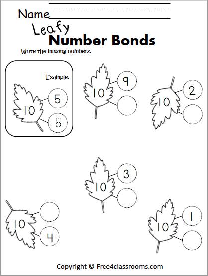 Free Number Bonds Worksheet – Fall or Spring Leaves