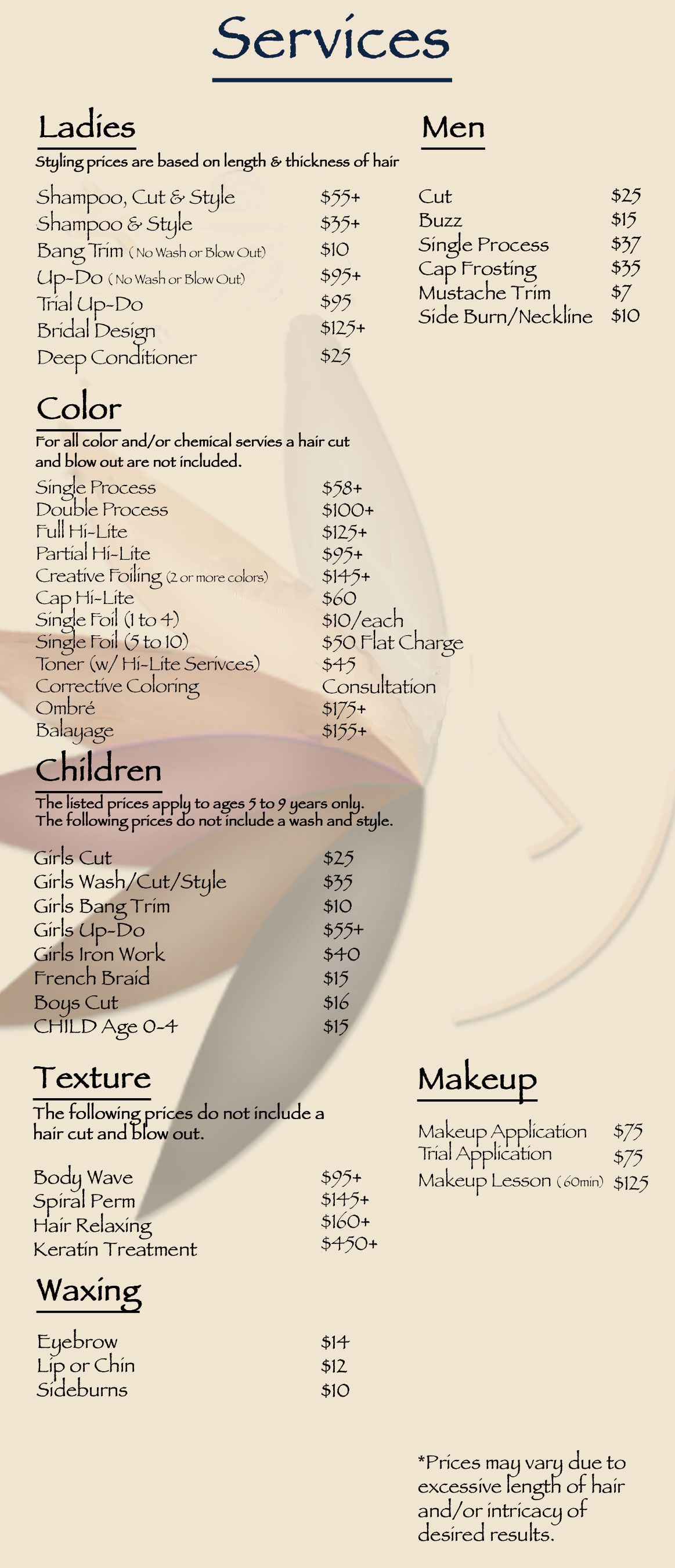 Beauty Salon Prices Image Result For Hair Salon Services And Price List Hair