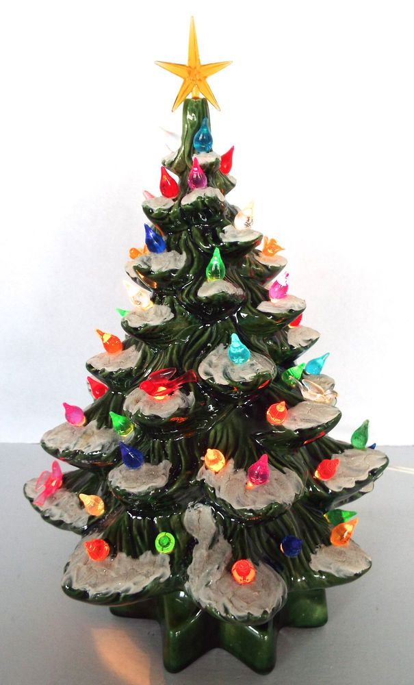 Hand Painted Ceramic Christmas Tree Light Lamp 13