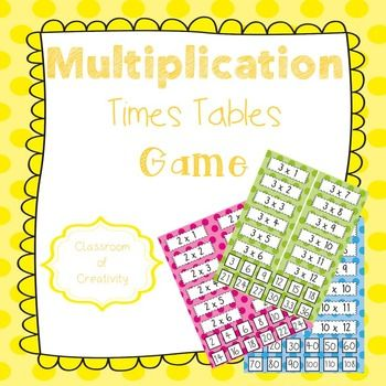 Multiplication Times Tables Matching Game Times tables, Matching - multiplication table