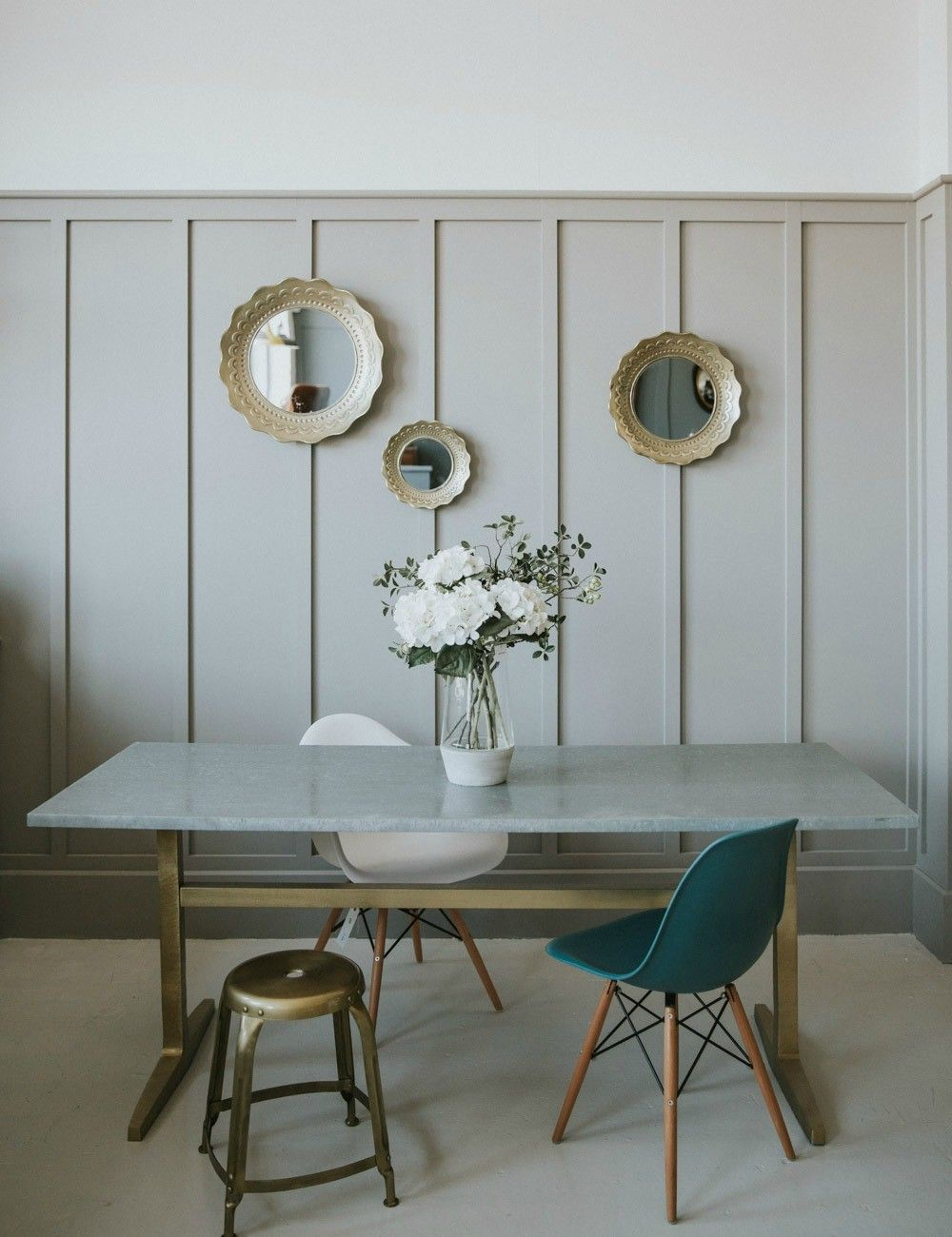 Zinc & Brass Industrial Table at Rose & Grey | Wall Treatment ...