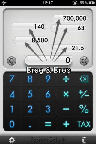 Drag & Drop a number anywhere on the screen to save it